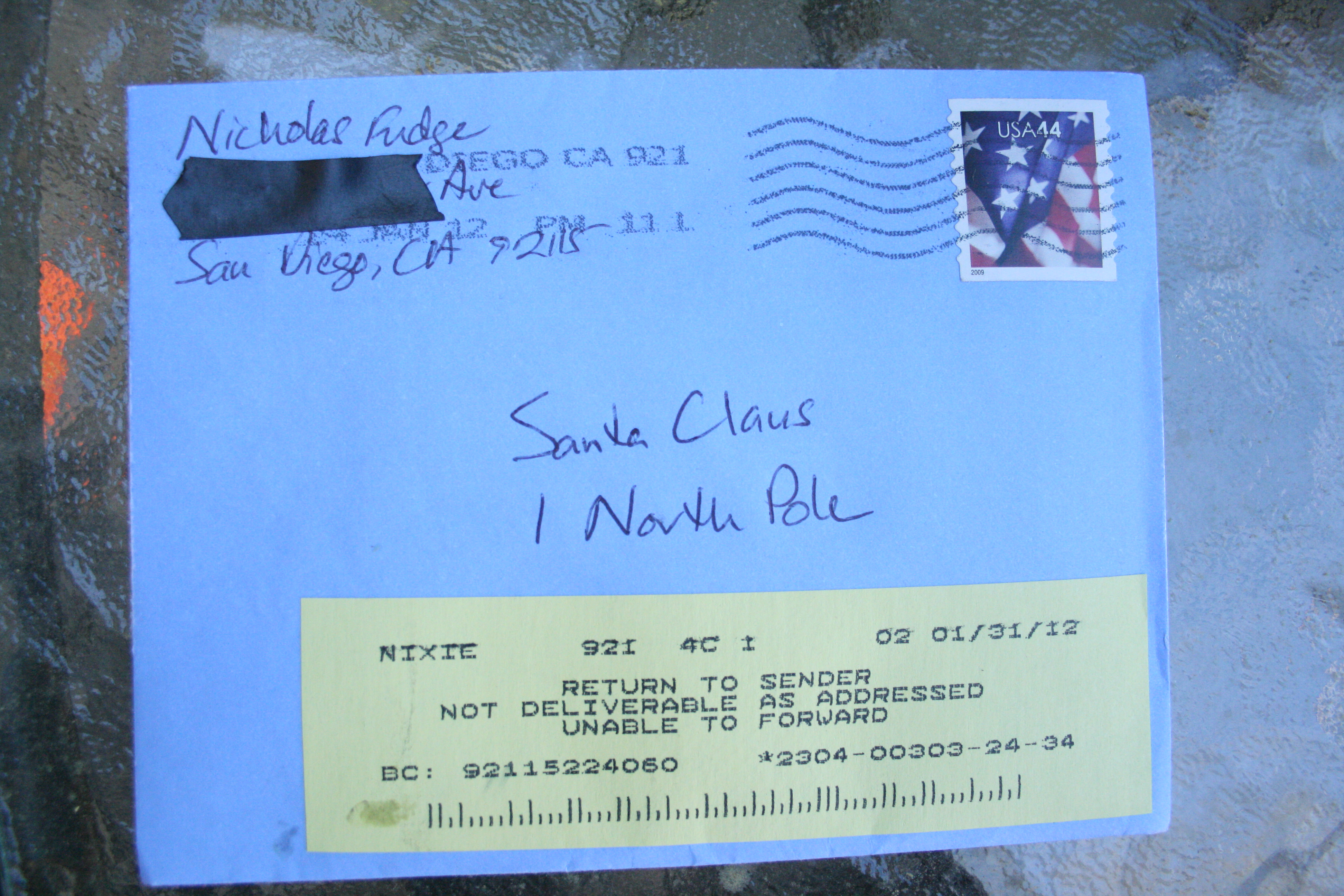 Note to santa returned to sender cul de sac well clip this letter back on our mailbox with a note that says try again so well see maybe next time well have to use ups spiritdancerdesigns Image collections