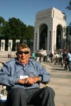 Vet at WWII Memorial