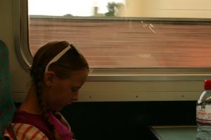 On the train to Edinburgh.