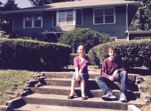 Sophie & Nicholas in front of the house I grew up in.